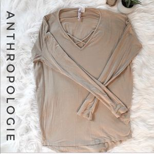 ALYA Anthropologie Criss Cross Long Sleeve Size S